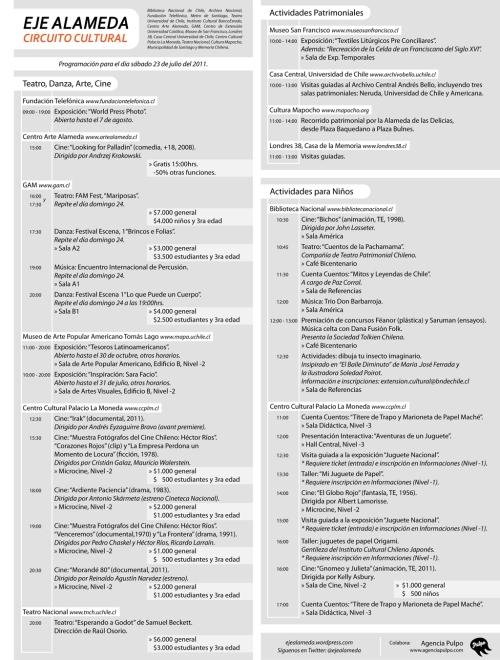 Programa de actividades del Eje Alameda del día 23 de julio